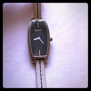 DKNY women's white leather watch